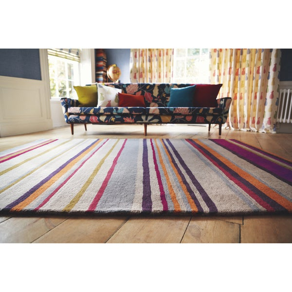 Harlequin Hand-Tufted Gray Opaque Striped Abstract Wool Rug (5' x 8')