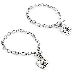 Stainless Steel Engraved Heart Charm Toggle Bracelet