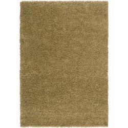 "Transitional Woven Green Luxurious Soft Shag Rug (6'7"" x 9'6"")"