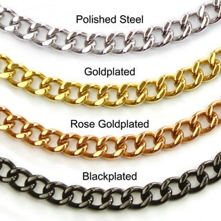 Crucible High-polish Stainless Steel Large 30-inch Curb-chain Necklace