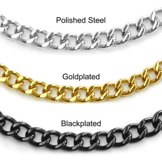 Crucible High-polish Stainless Steel Large Link Curb-chain Necklace