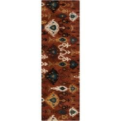 Hand-tufted Brown Surreal New Zealand Wool Rug (2'6 x 8')