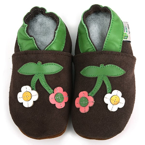 Two Flowers Soft Sole Leather Baby Shoes
