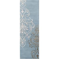 Candice Olson Hand-tufted Gray Cane Damask Design Wool Rug (2'6 x 8')