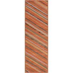Candice Olson Hand-tufted Brown Cane Diagonal Stripes Wool Rug (2'6 x 8')