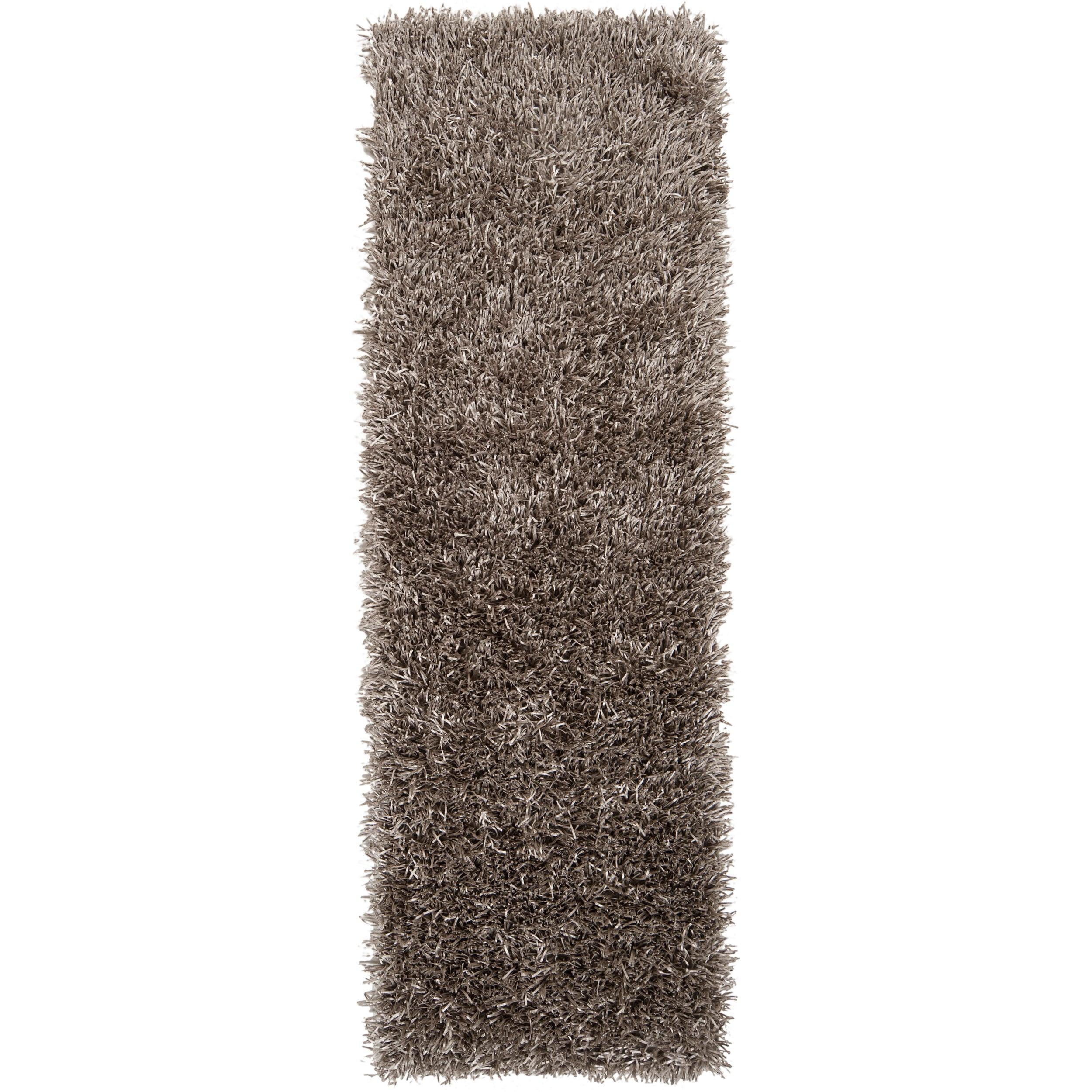 Hand-woven Grey Shine Soft Plush Shag Rug (2'6 x 8')