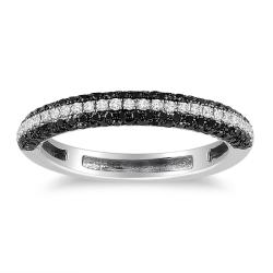 Miadora 10k White Gold 1/2ct TDW Black and White Diamond Ring (H-I, I2-I3)