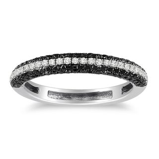 Miadora 10k White Gold 1/2ct TDW Black and White Diamond Band-style Ring (H-I, I2-I3)