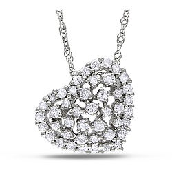 Miadora 14k White Gold 1/2ct TDW Diamond Heart Necklace (G-H, SI1-SI2)