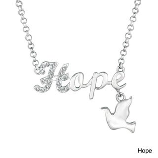 Silver Diamond Accent Word and Charm Necklace