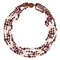 Red, Purple and White Freshwater Pearl Multi-strand Necklace (5-10 mm)