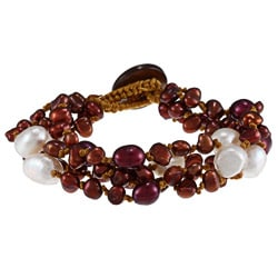Red and White Freshwater Baroque and Rice Pearl Bracelet (5-10 mm)