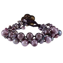 Dark Grey and Purple FW Baroque and Potato Pearl Bracelet (4-10 mm)