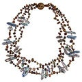Brown and Peacock Freshwater Biwa Pearl Multi-strand Necklace (4-7 mm)