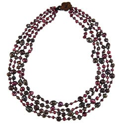 Purple and Black Freshwater Pearl Multi-strand Necklace (4-11 mm)