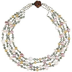 Multi-colored FW Baroque and Coin Pearl Multi-strand Necklace (5-8 mm)