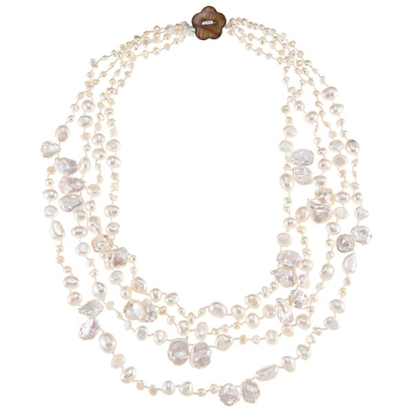 White FW Baroque and Keshi Pearl Multi-strand Necklace (3-11 mm)