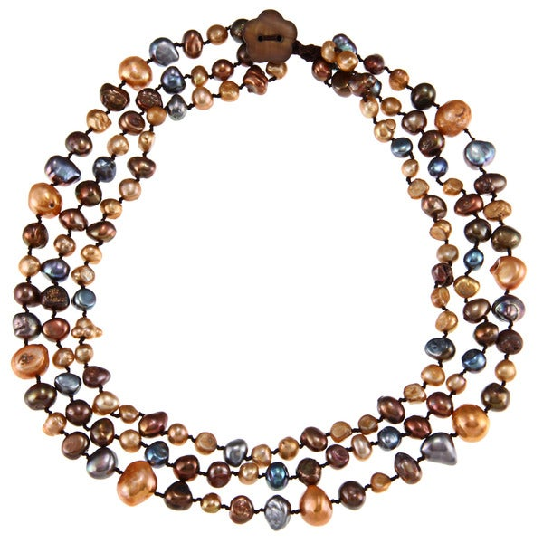 Champagne, Brown and Peacock FW Pearl Multi-strand Necklace (6-13 mm)