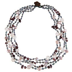 Grey, Purple and White Freshwater Pearl Multi-strand Necklace (4-12 mm)