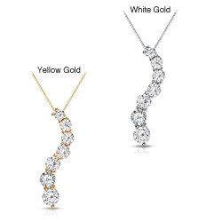 Auriya 14k Gold 1/2ct TDW Round Diamond Journey Necklace (J-K, I1-I2)