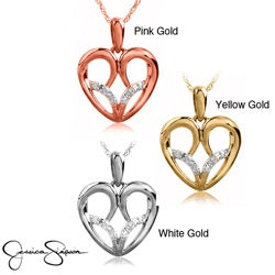 10k White Yellow or Rose Gold Diamond Accent Heart Necklace