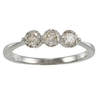10k Gold 3/4ct TDW Diamond 3-stone Wedding Band (K-L, I2-I3)