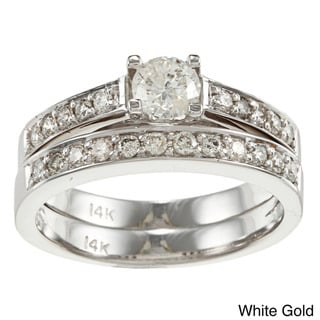 Auriya 14k Gold 1ct TDW Round Diamond Bridal Ring Set (I-J, I2)