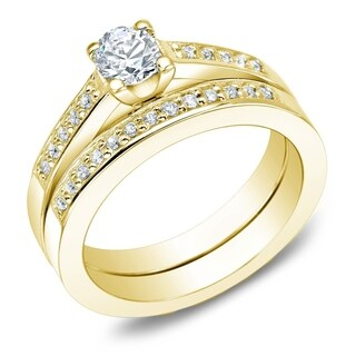 Auriya 14k Gold 1ct TDW Round Diamond Bridal Ring Set (J-K, I2)