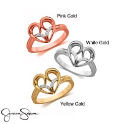 10k White Yellow or Rose Gold Diamond Accent Heart Ring