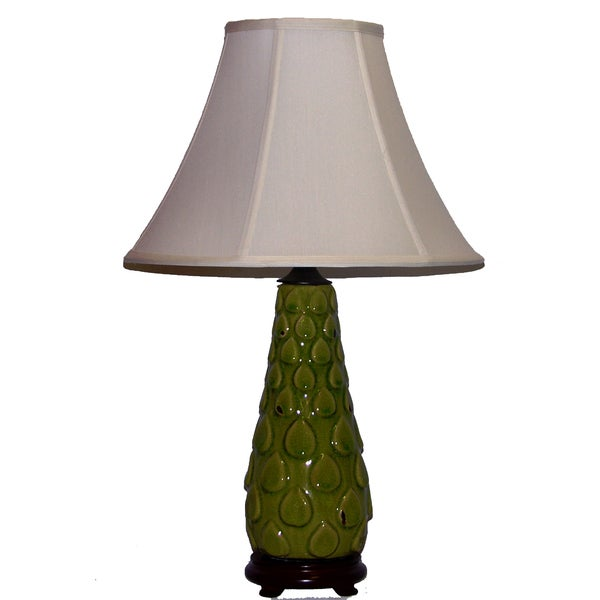 Crown Lighting 1-light Contempo Distressed Avocado Green Ceramic Table Lamp