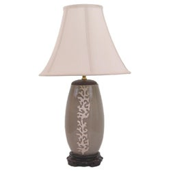 Crown Lighting 1-light Coral Raised Motif on Grey Crackle Porcelain Table Lamp