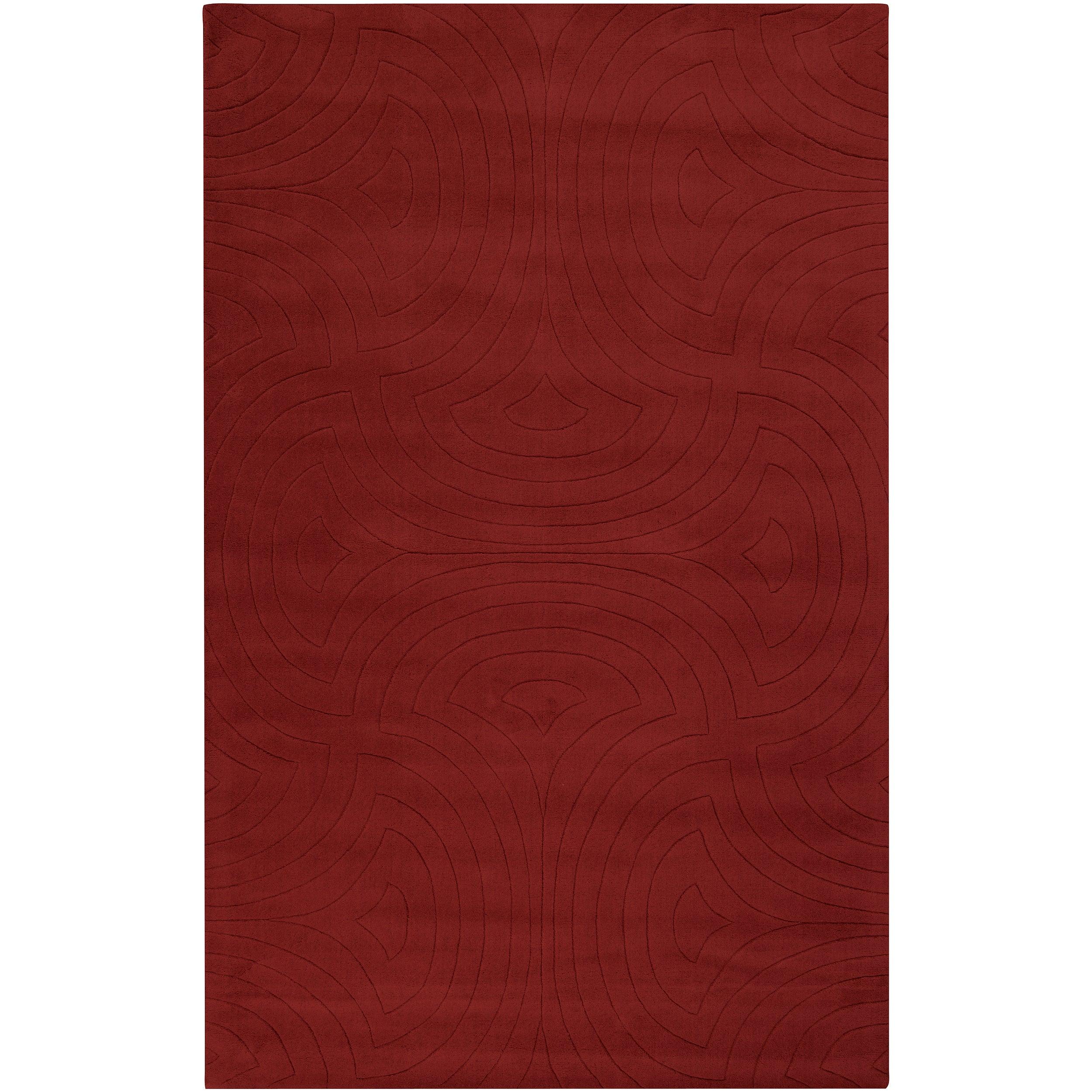 Candice Olson Loomed Red Scrumptious Geometric Plush Wool Rug (3'3 x 5'3)