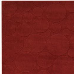 Candice Olson Loomed Red Scrumptious Geometric Circles Wool Rug (9' x 13')