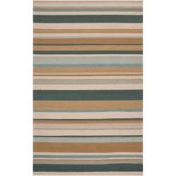 Hand-hooked Tan Radiant Indoor/Outdoor Stripe Rug (3' x 5')