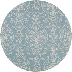 Hand-hooked Blue Radiant Indoor/Outdoor Damask Print Rug (8' Round)