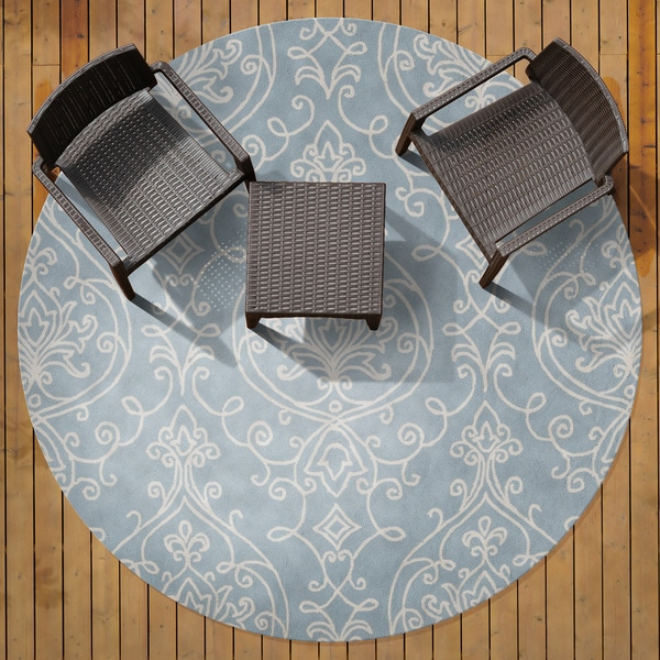 Hand-hooked Blue Radiant Indoor/Outdoor Damask Print Rug (8' Round)