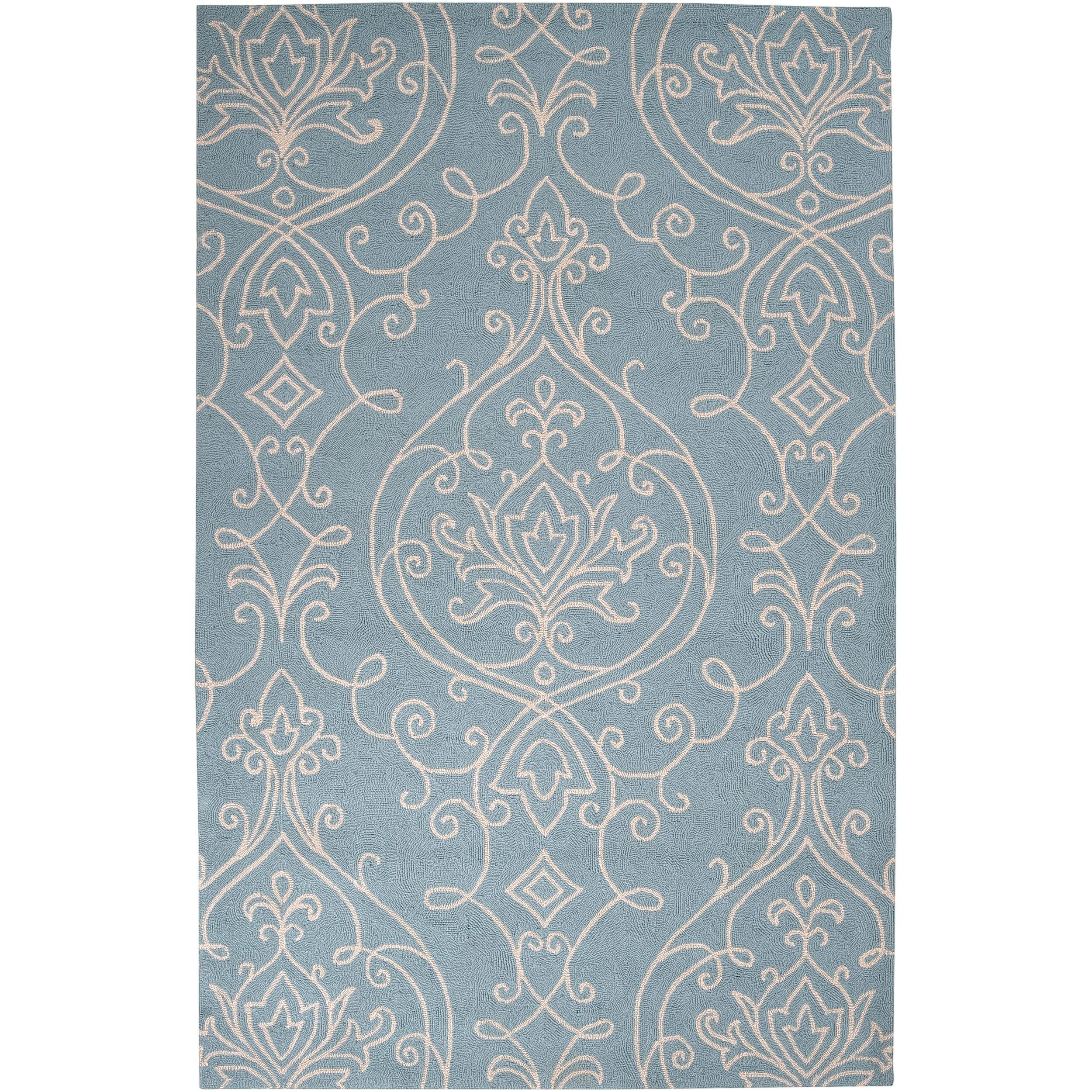 Hand-hooked Blue Radiant Indoor/Outdoor Damask Print Rug (3' x 5')