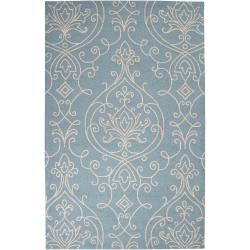 Hand-hooked Blue Radiant Indoor/Outdoor Damask Print Rug (3' x 5')
