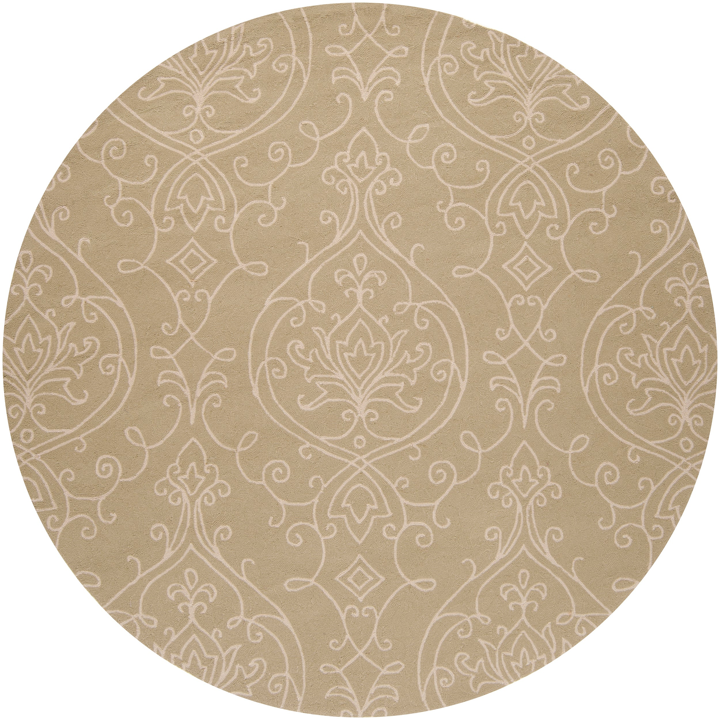 Hand-hooked Green Radiant Indoor/Outdoor Damask Print Rug (8' Round)