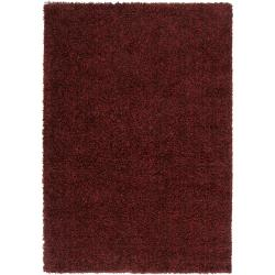 Woven Burgundy Luxurious Soft Shag Polypropylene Rug (7'10 x 10'6)