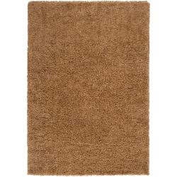 Transitional Woven Tan Luxurious Soft Shag Rug (7'10