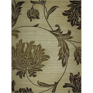 Avante Peony Bouquet Beige Rug (9' x 12')