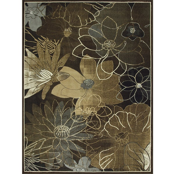 Somette Avante Blossoming Elegance Chocolate Rug (9' x 12')