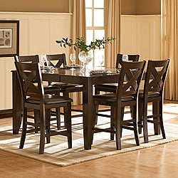 Acton Merlot X-back 7-piece Counter Height Dining Set