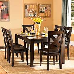 Acton Warm Merlot X-back Casual 7-piece Dining Set