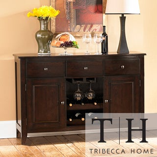 Tribecca Home Acton Merlot 3-drawer Wine Rack Dining Storage Server