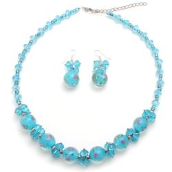 Blue Murano Glass Marble Necklace and Earring Set