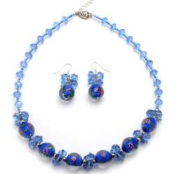 Periwinkle Blue Murano Inspired Glass Marble Necklace and Earring Set