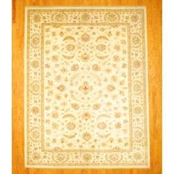Afghan Hand-knotted Vegetable Dye Oushak Ivory/ Light Brown Wool Rug (8'11 x 11'8)