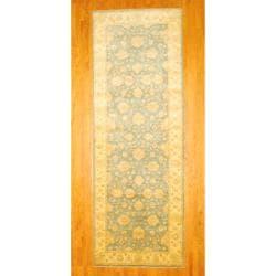 Afghan Hand-knotted Vegetable Dye Oushak Light Blue/ Beige Wool Rug (5' x 14')